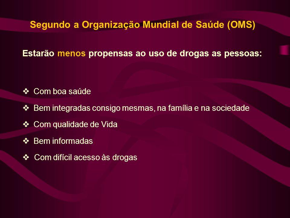 Segundo a Organização Mundial de Saúde (OMS)
