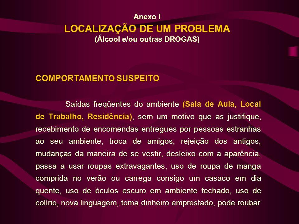 Anexo I LOCALIZAÇÃO DE UM PROBLEMA (Álcool e/ou outras DROGAS)