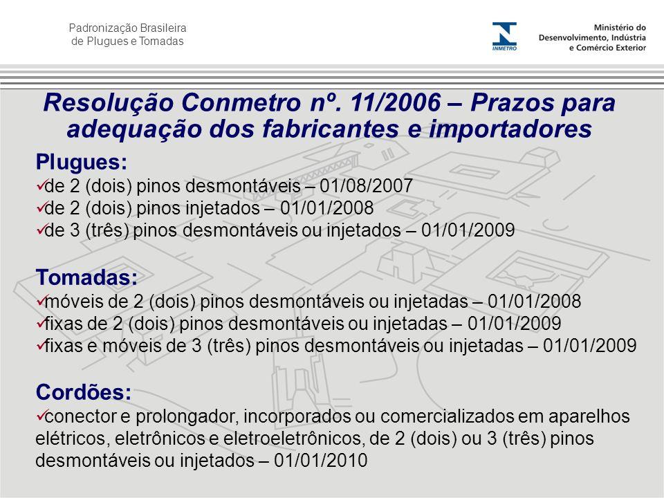 Resolução Conmetro nº. 11/2006 – Prazos para adequação dos fabricantes e importadores