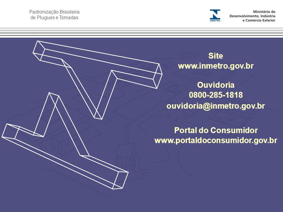 Site www.inmetro.gov.br. Ouvidoria. 0800-285-1818. ouvidoria@inmetro.gov.br. Portal do Consumidor.