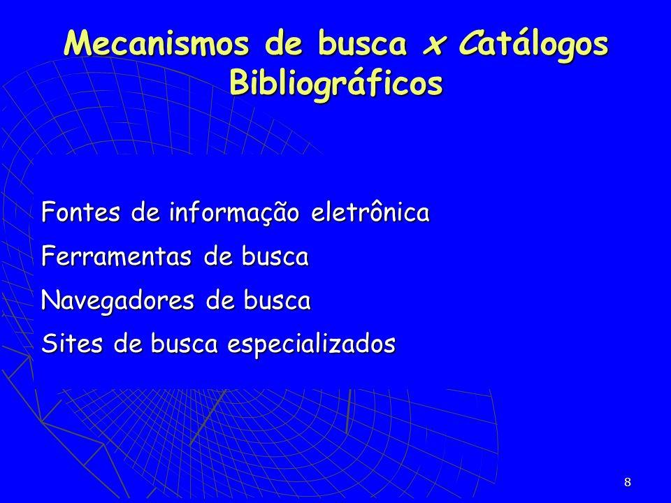 Mecanismos de busca x Catálogos Bibliográficos