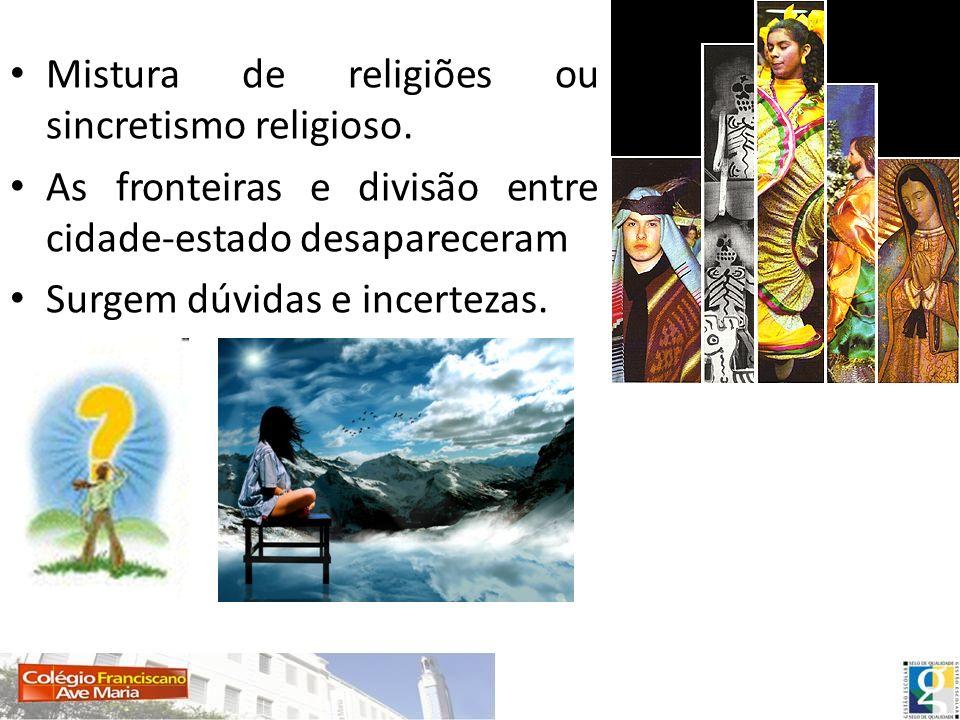 Mistura de religiões ou sincretismo religioso.