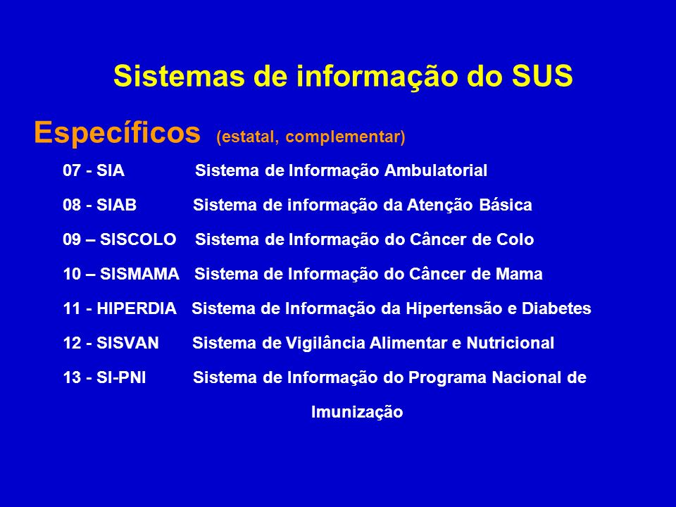 Sistemas de informação do SUS