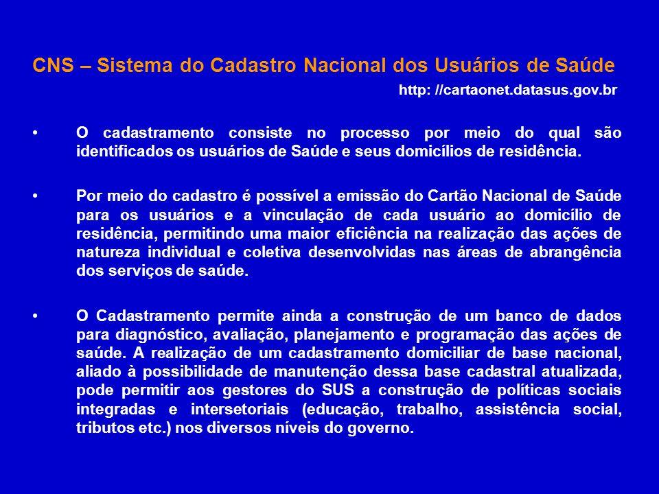 CNS – Sistema do Cadastro Nacional dos Usuários de Saúde