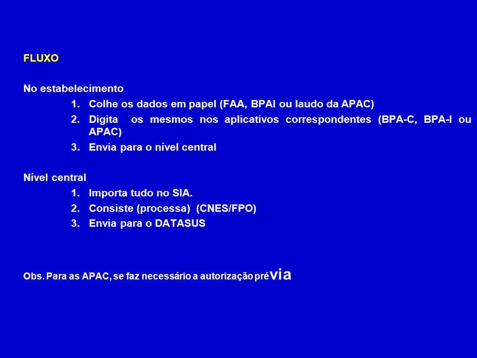 Colhe os dados em papel (FAA, BPAI ou laudo da APAC)