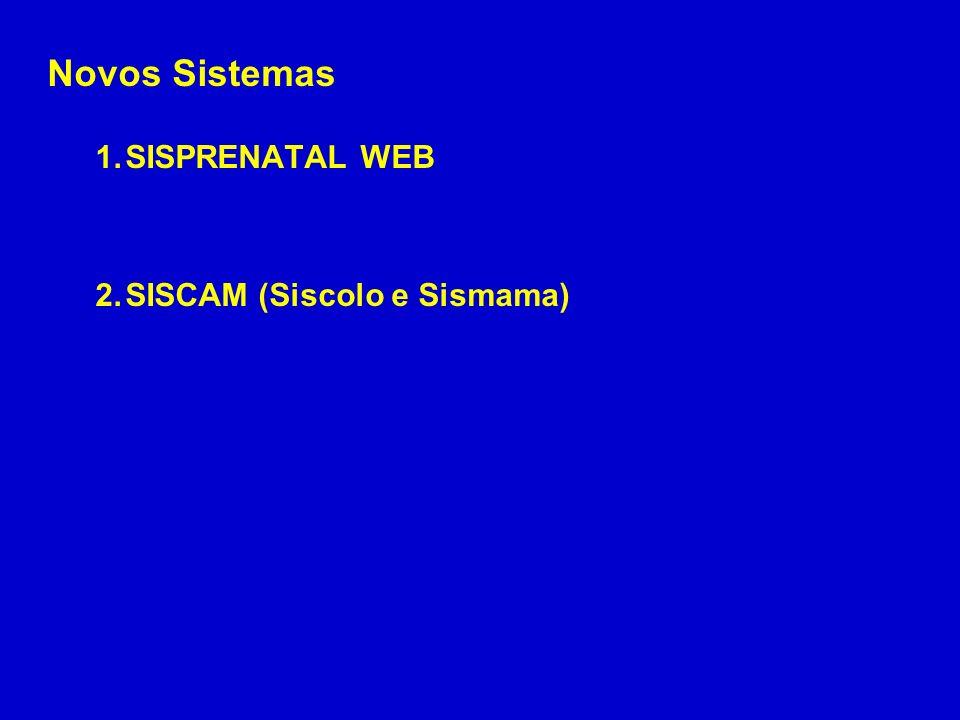 Novos Sistemas SISPRENATAL WEB SISCAM (Siscolo e Sismama)