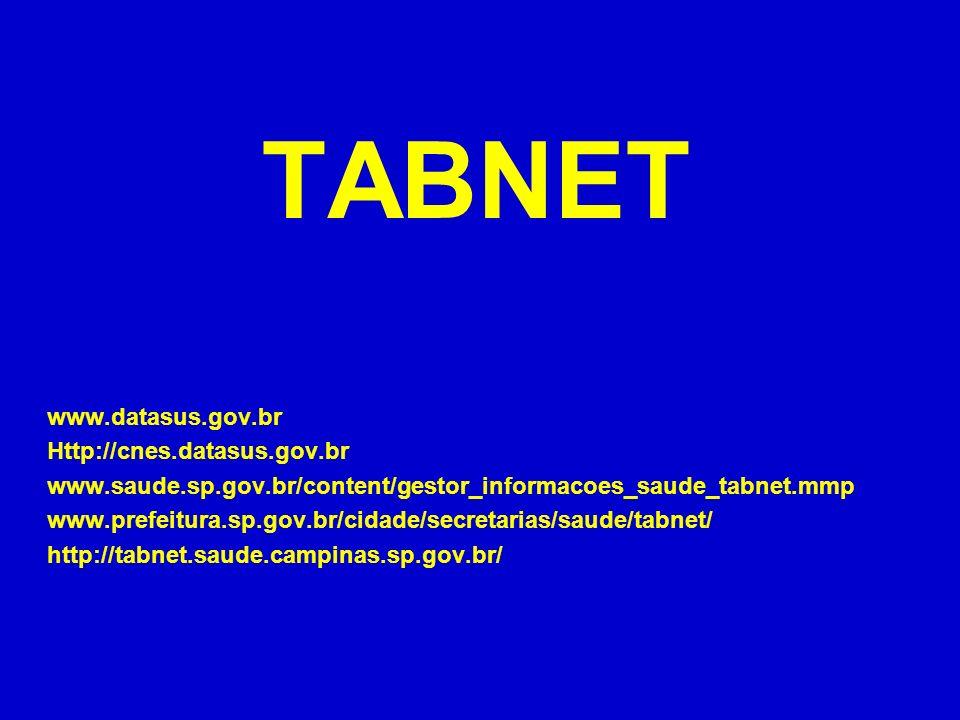 TABNET www.datasus.gov.br Http://cnes.datasus.gov.br