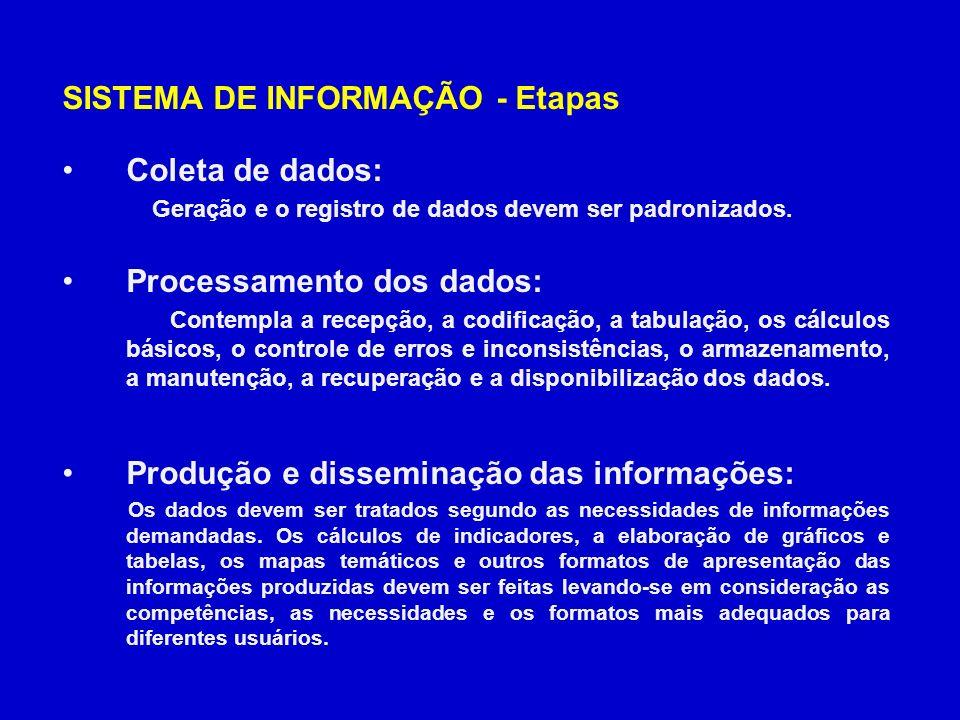 SISTEMA DE INFORMAÇÃO - Etapas Coleta de dados: