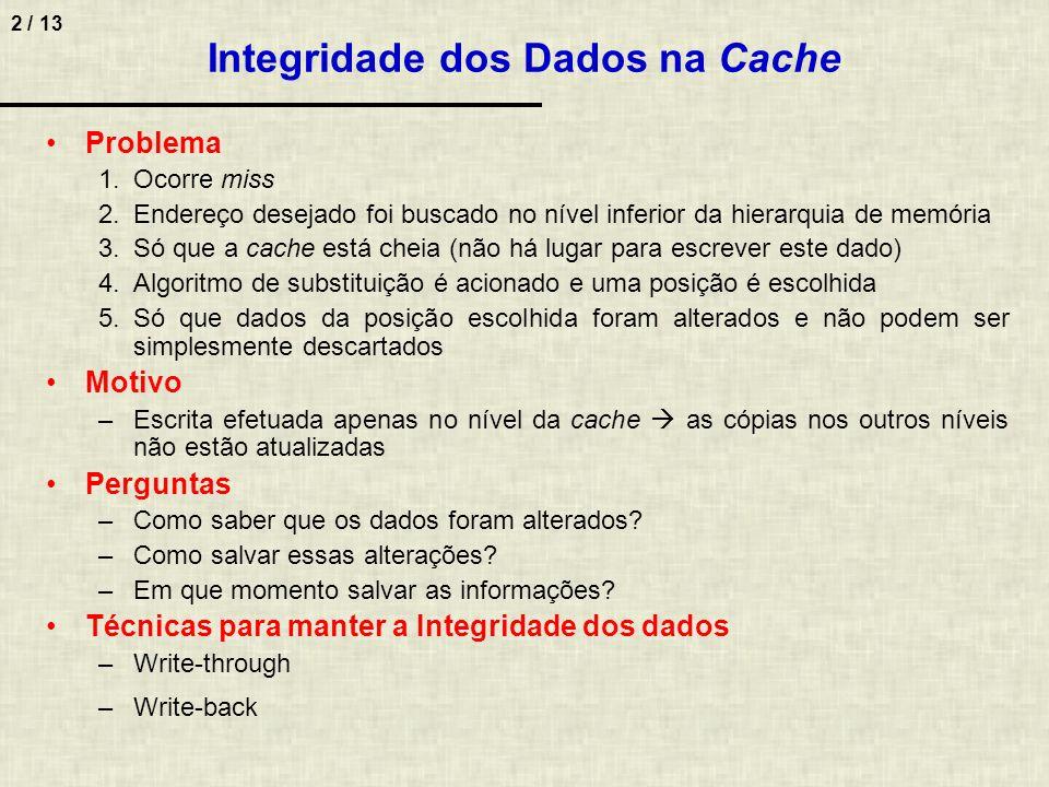 Integridade dos Dados na Cache