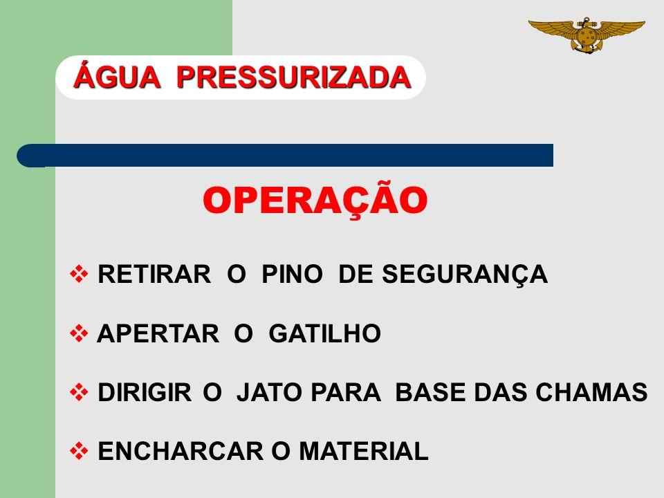 OPERAÇÃO ÁGUA PRESSURIZADA RETIRAR O PINO DE SEGURANÇA