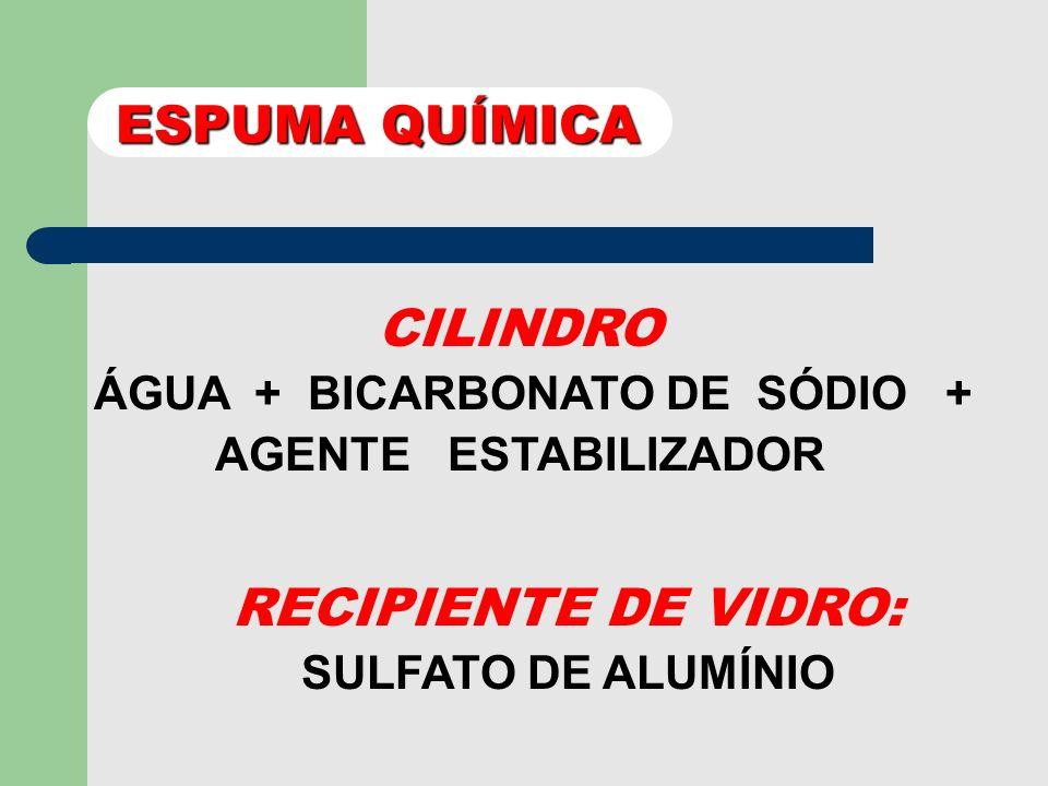 ÁGUA + BICARBONATO DE SÓDIO + AGENTE ESTABILIZADOR