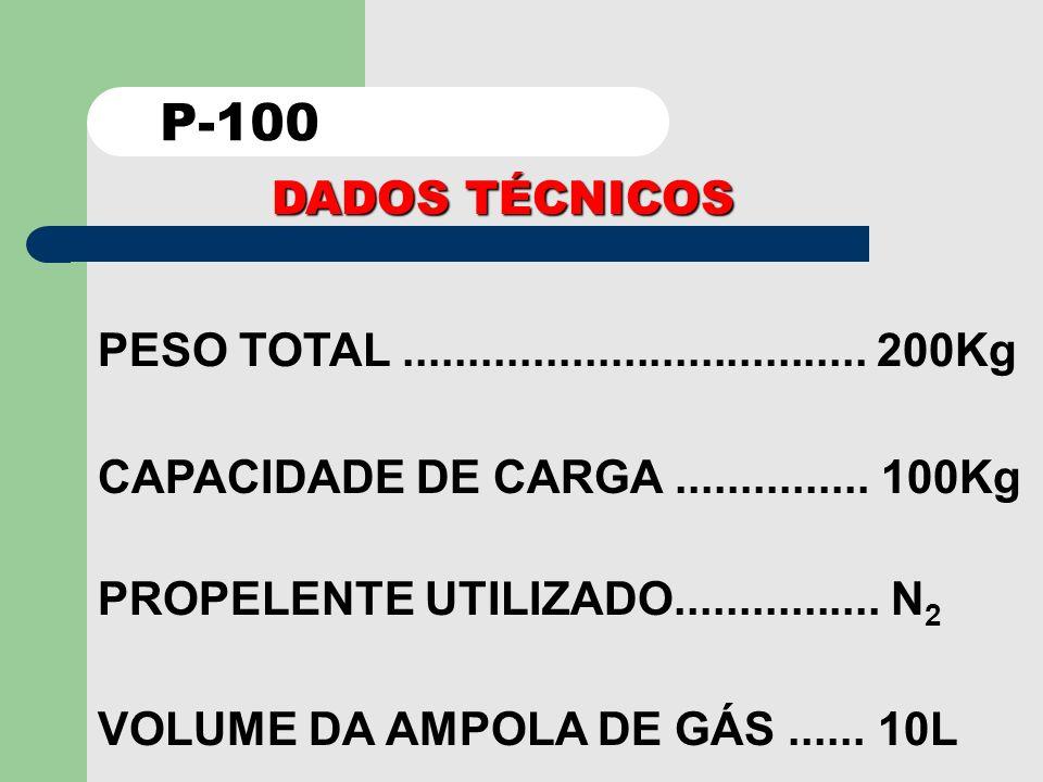 P-100 DADOS TÉCNICOS. PESO TOTAL .................................... 200Kg. CAPACIDADE DE CARGA ............... 100Kg.
