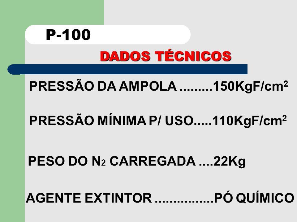 P-100 DADOS TÉCNICOS PRESSÃO DA AMPOLA .........150KgF/cm2