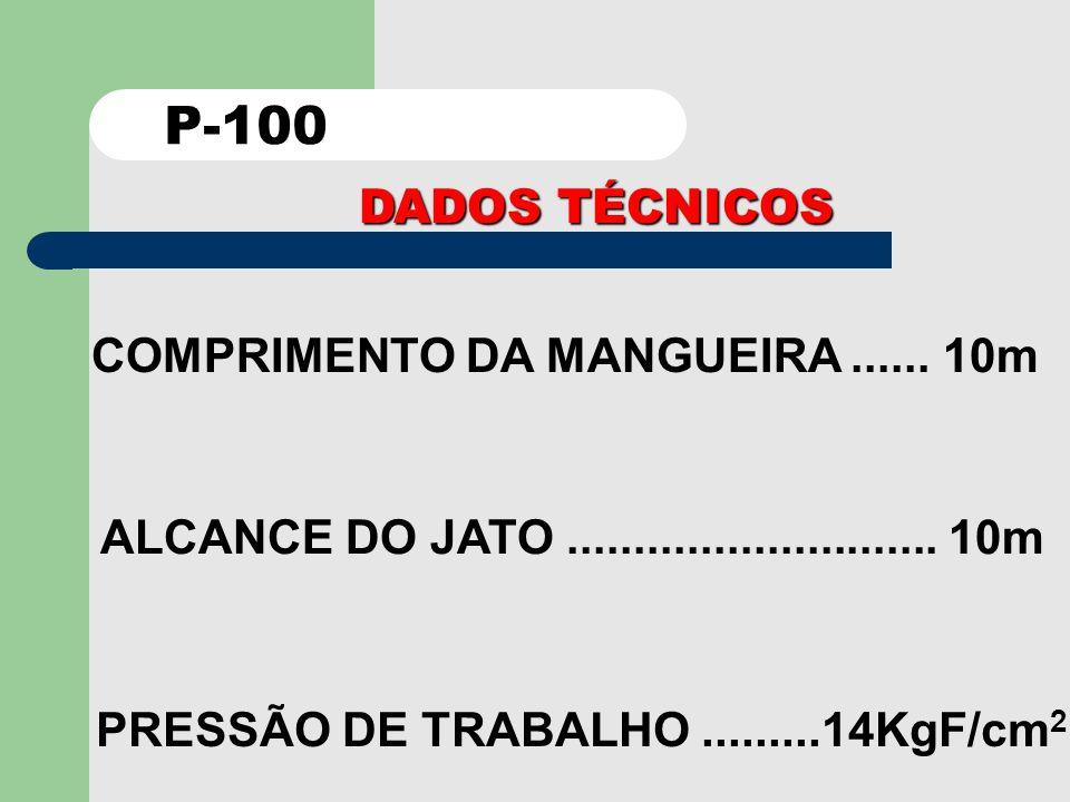 P-100 DADOS TÉCNICOS COMPRIMENTO DA MANGUEIRA ...... 10m