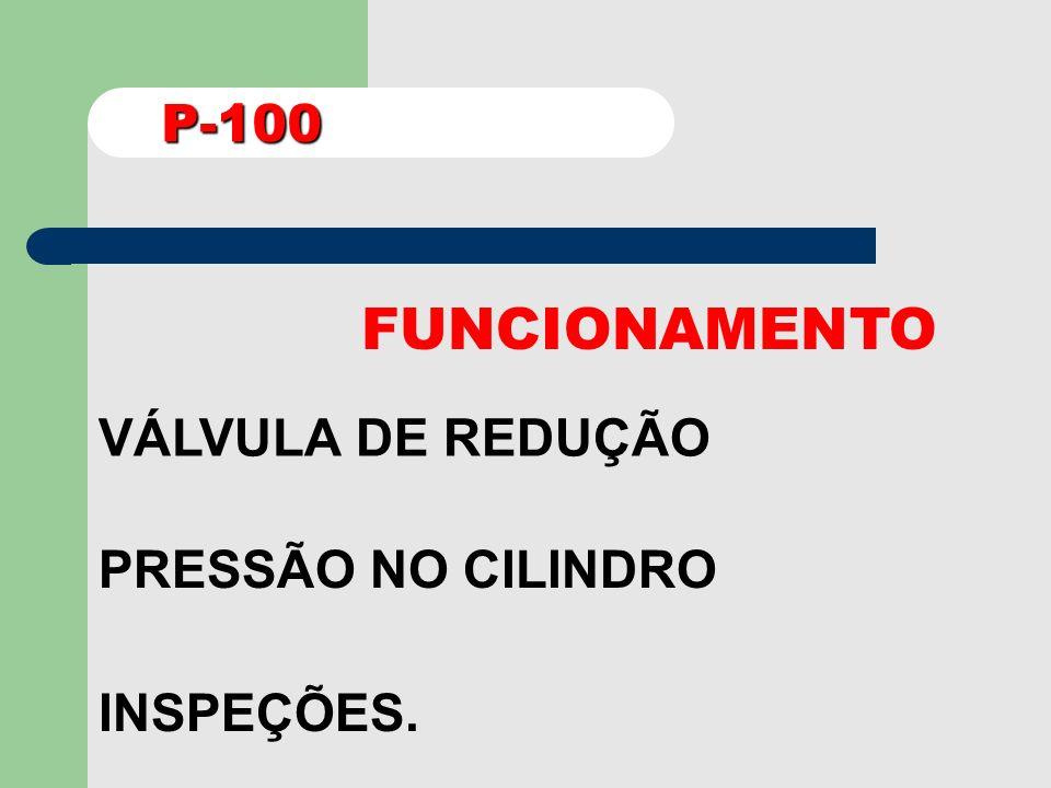 P-100 FUNCIONAMENTO VÁLVULA DE REDUÇÃO PRESSÃO NO CILINDRO INSPEÇÕES.