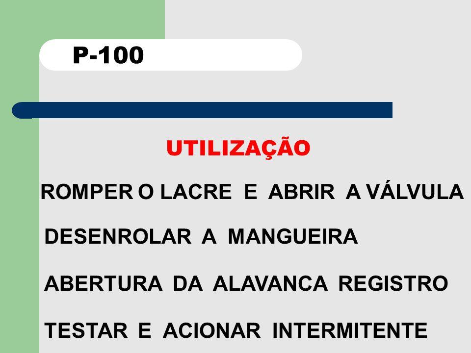 P-100 UTILIZAÇÃO ROMPER O LACRE E ABRIR A VÁLVULA