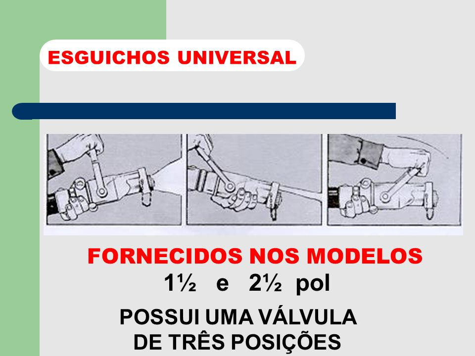 1½ e 2½ pol FORNECIDOS NOS MODELOS POSSUI UMA VÁLVULA DE TRÊS POSIÇÕES