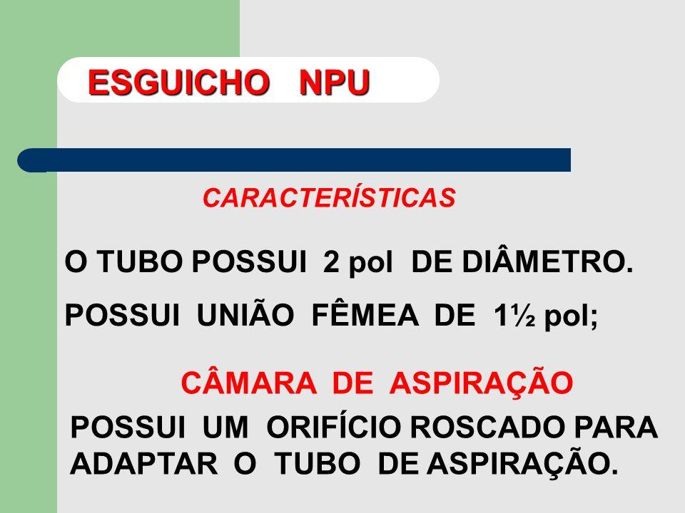 ESGUICHO NPU O TUBO POSSUI 2 pol DE DIÂMETRO.