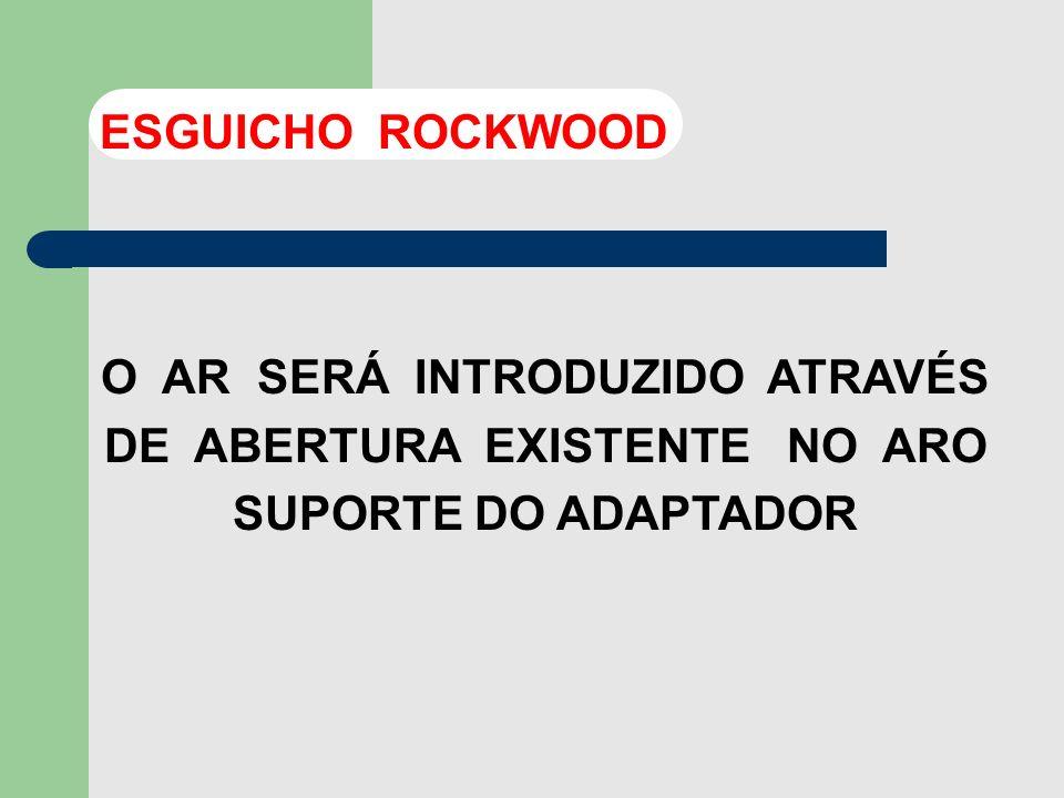 ESGUICHO ROCKWOOD O AR SERÁ INTRODUZIDO ATRAVÉS DE ABERTURA EXISTENTE NO ARO SUPORTE DO ADAPTADOR.