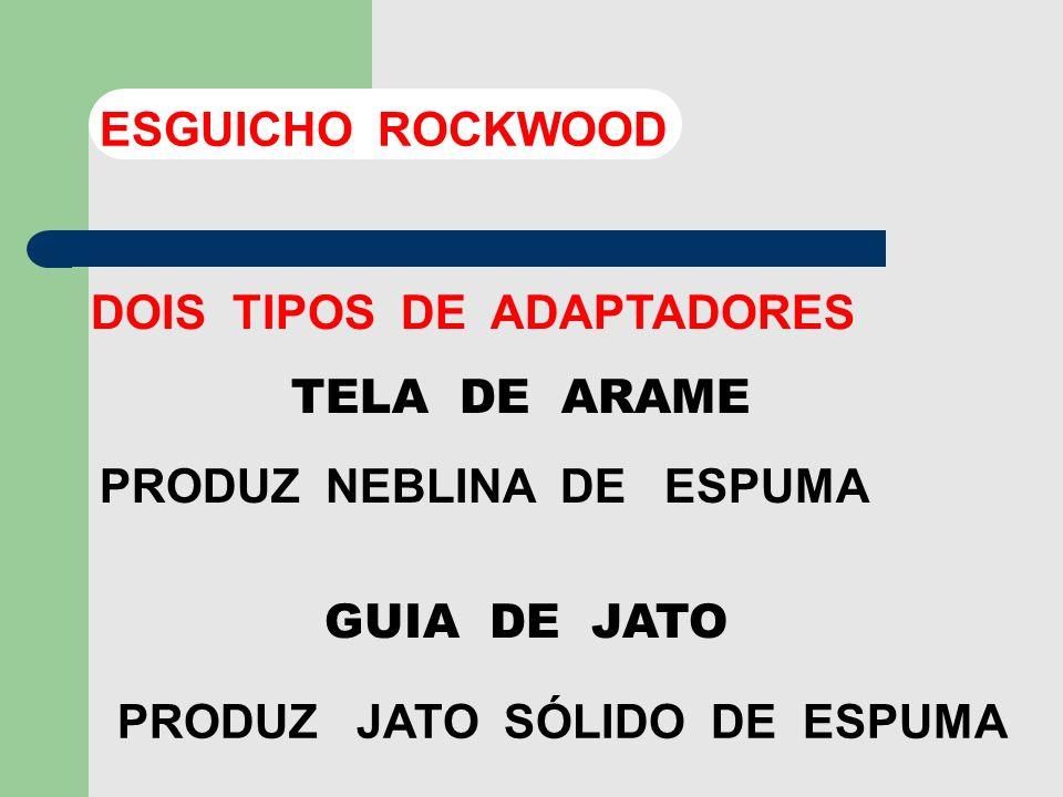 ESGUICHO ROCKWOOD DOIS TIPOS DE ADAPTADORES. TELA DE ARAME. PRODUZ NEBLINA DE ESPUMA. GUIA DE JATO.