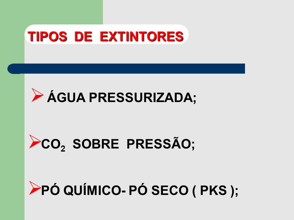 TIPOS DE EXTINTORES ÁGUA PRESSURIZADA; CO2 SOBRE PRESSÃO; PÓ QUÍMICO- PÓ SECO ( PKS );