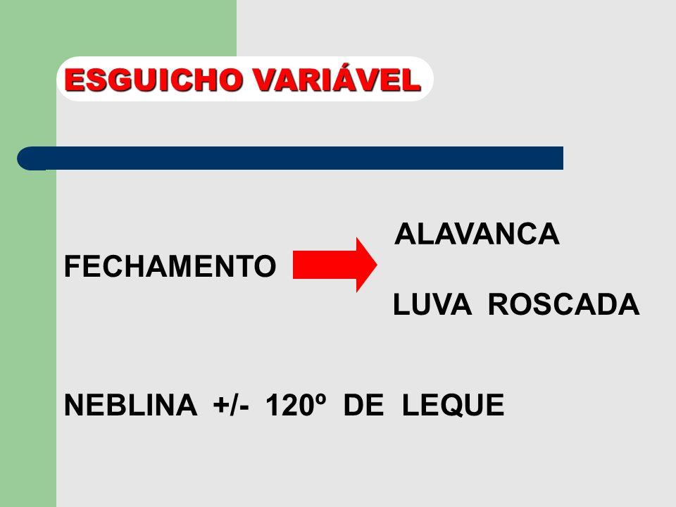 ESGUICHO VARIÁVEL ALAVANCA FECHAMENTO LUVA ROSCADA NEBLINA +/- 120º DE LEQUE