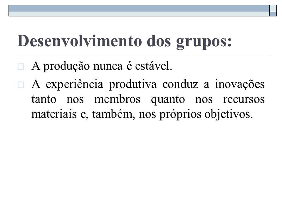 Desenvolvimento dos grupos: