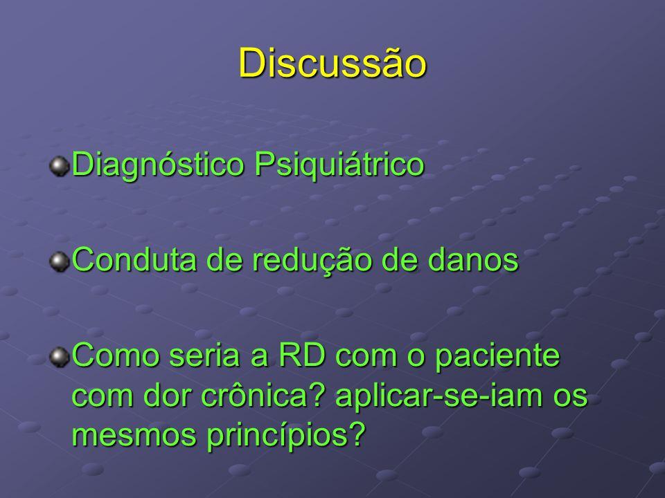 Discussão Diagnóstico Psiquiátrico Conduta de redução de danos
