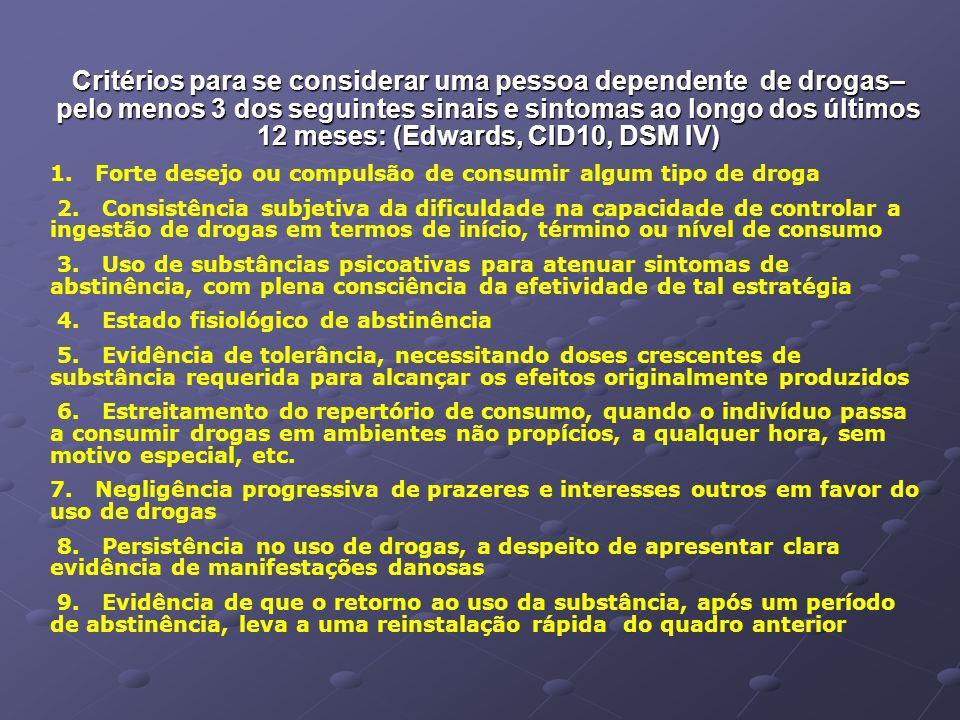 Critérios para se considerar uma pessoa dependente de drogas– pelo menos 3 dos seguintes sinais e sintomas ao longo dos últimos 12 meses: (Edwards, CID10, DSM IV)