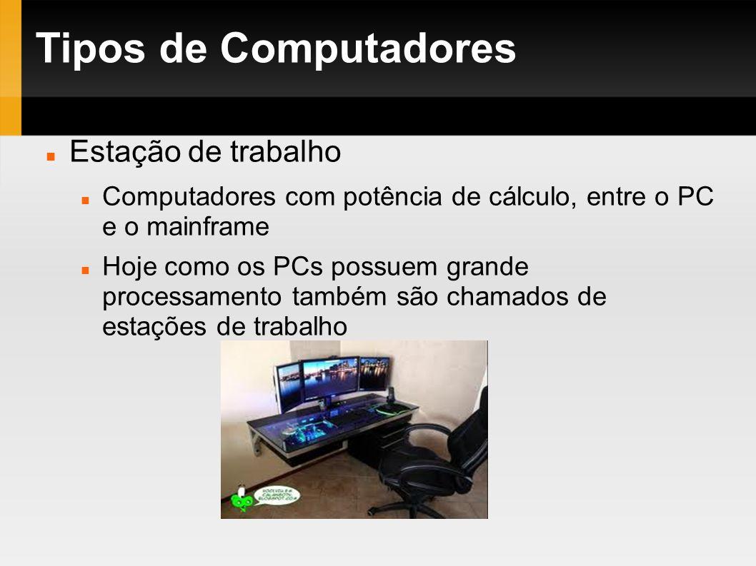 Tipos de Computadores Estação de trabalho