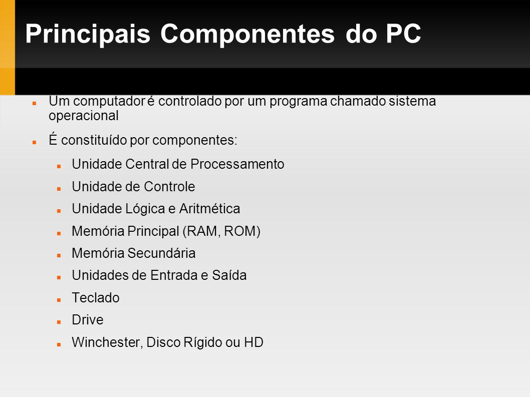 Principais Componentes do PC