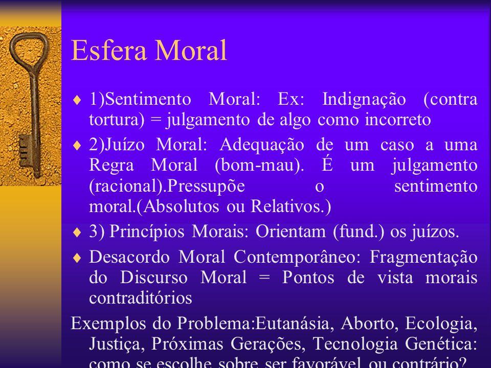 Esfera Moral 1)Sentimento Moral: Ex: Indignação (contra tortura) = julgamento de algo como incorreto.