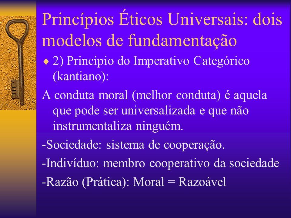 Princípios Éticos Universais: dois modelos de fundamentação