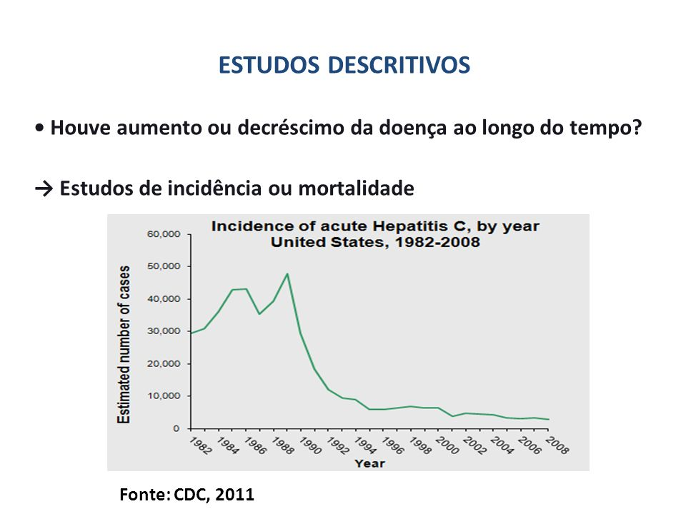 ESTUDOS DESCRITIVOS • Houve aumento ou decréscimo da doença ao longo do tempo → Estudos de incidência ou mortalidade.