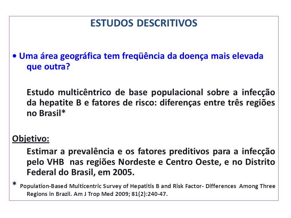 ESTUDOS DESCRITIVOS • Uma área geográfica tem freqüência da doença mais elevada que outra