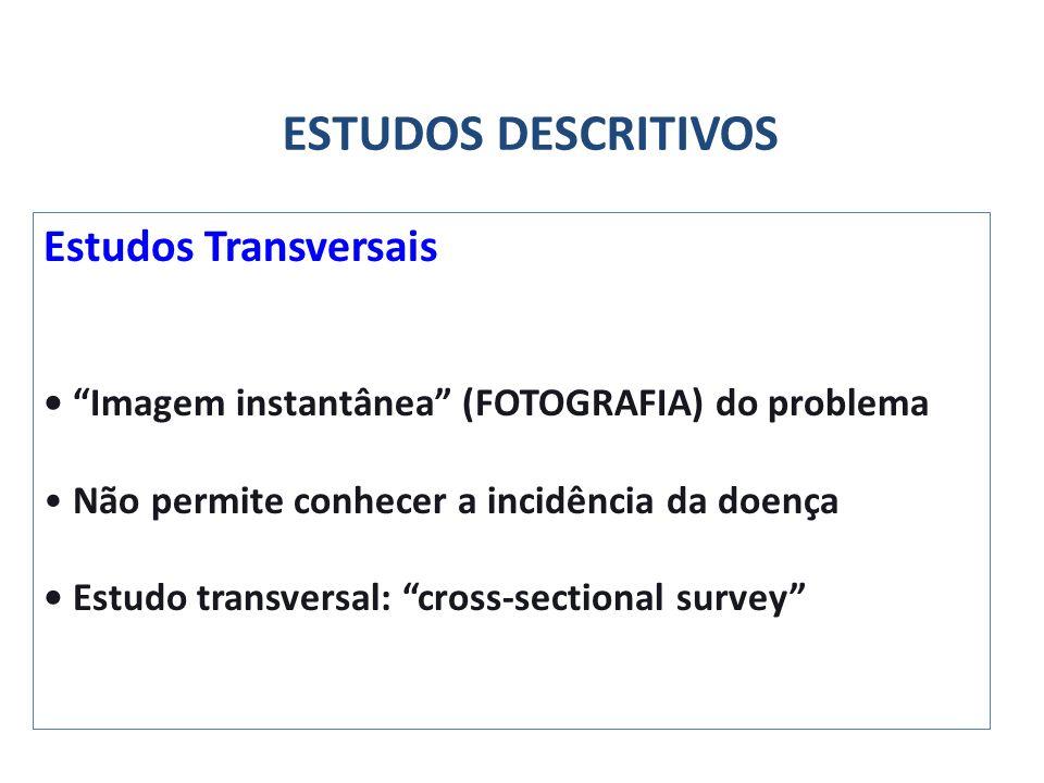 ESTUDOS DESCRITIVOS Estudos Transversais