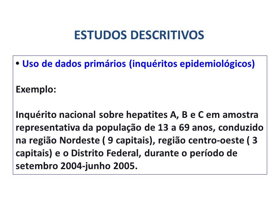 ESTUDOS DESCRITIVOS • Uso de dados primários (inquéritos epidemiológicos) Exemplo: