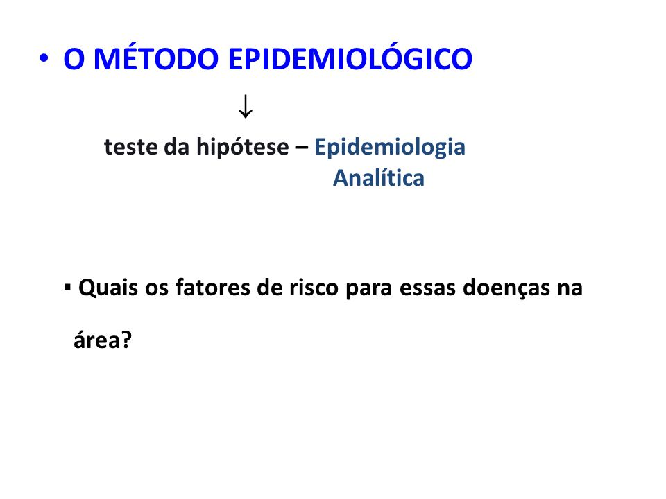 O MÉTODO EPIDEMIOLÓGICO