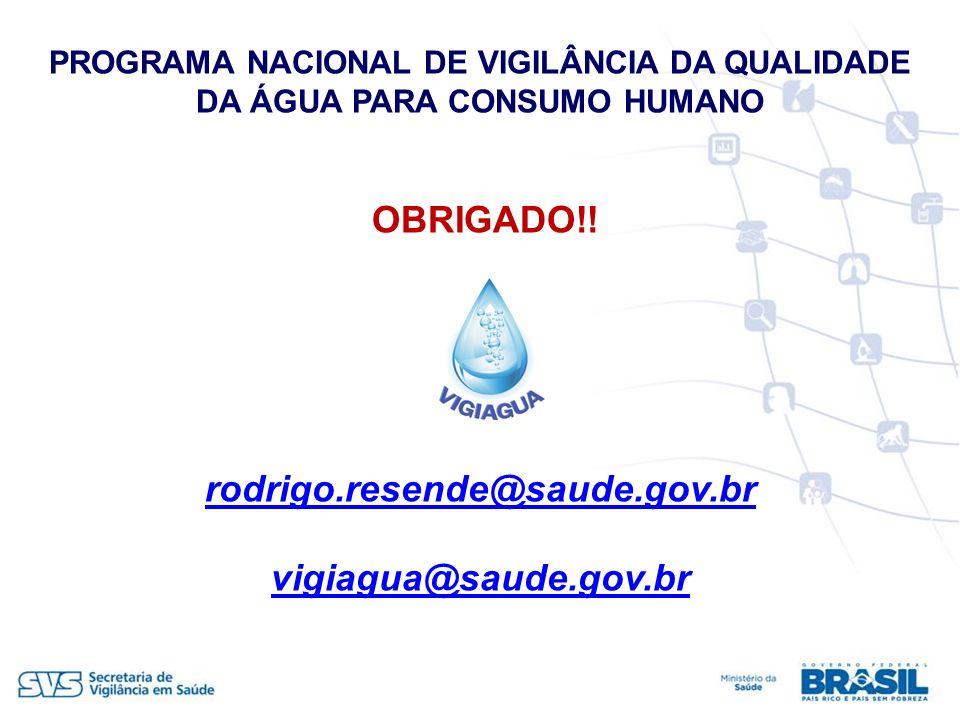 OBRIGADO!! rodrigo.resende@saude.gov.br vigiagua@saude.gov.br