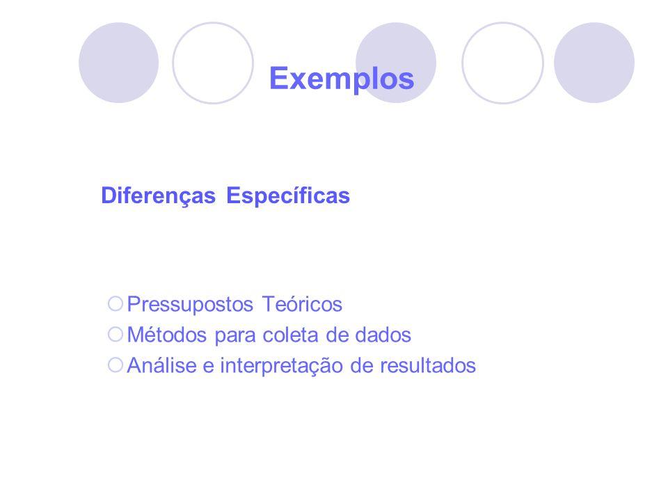 Exemplos Diferenças Específicas Pressupostos Teóricos