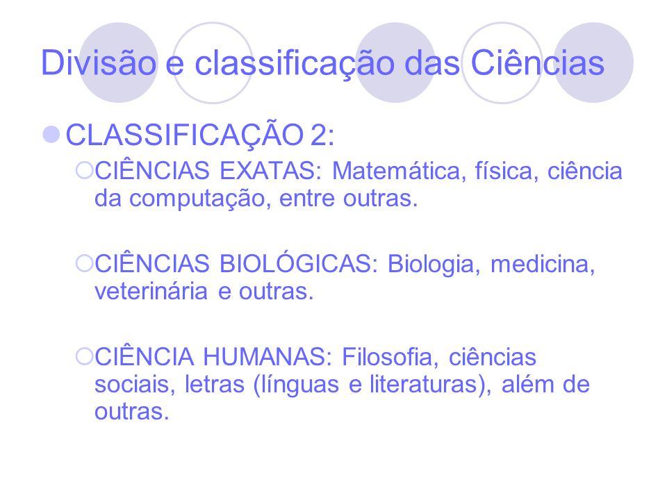Divisão e classificação das Ciências
