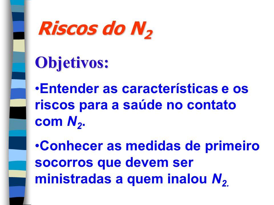 Riscos do N2 Objetivos: Entender as características e os riscos para a saúde no contato com N2.