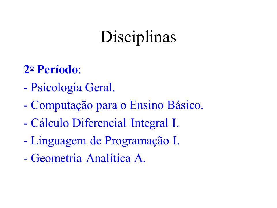 Disciplinas 2o Período: - Psicologia Geral.