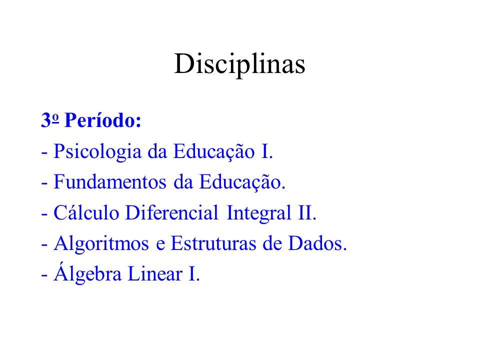 Disciplinas 3o Período: - Psicologia da Educação I.