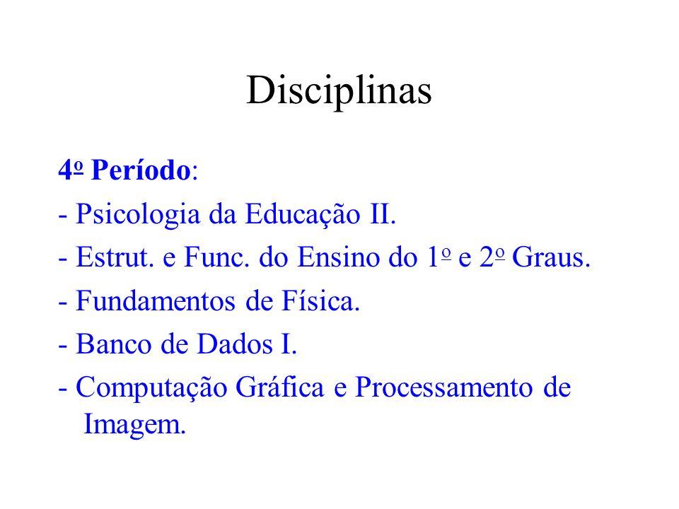 Disciplinas 4o Período: - Psicologia da Educação II.