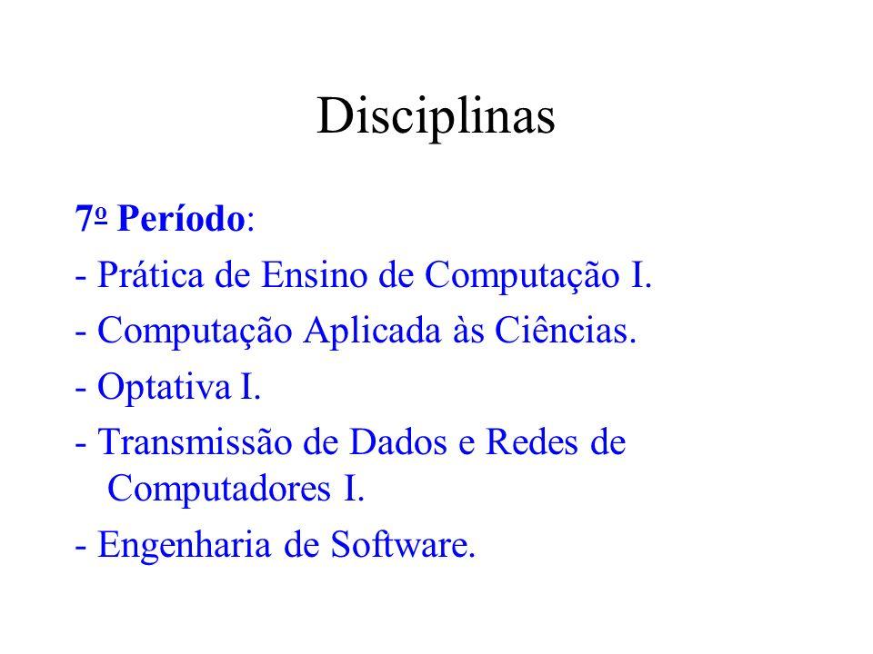 Disciplinas 7o Período: - Prática de Ensino de Computação I.