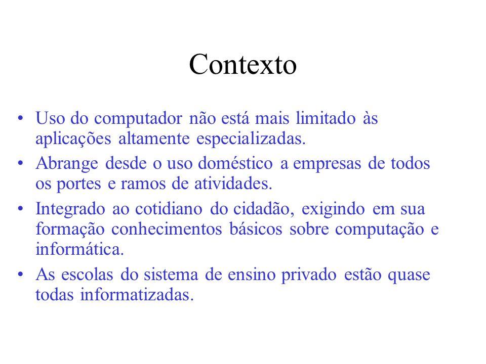 Contexto Uso do computador não está mais limitado às aplicações altamente especializadas.