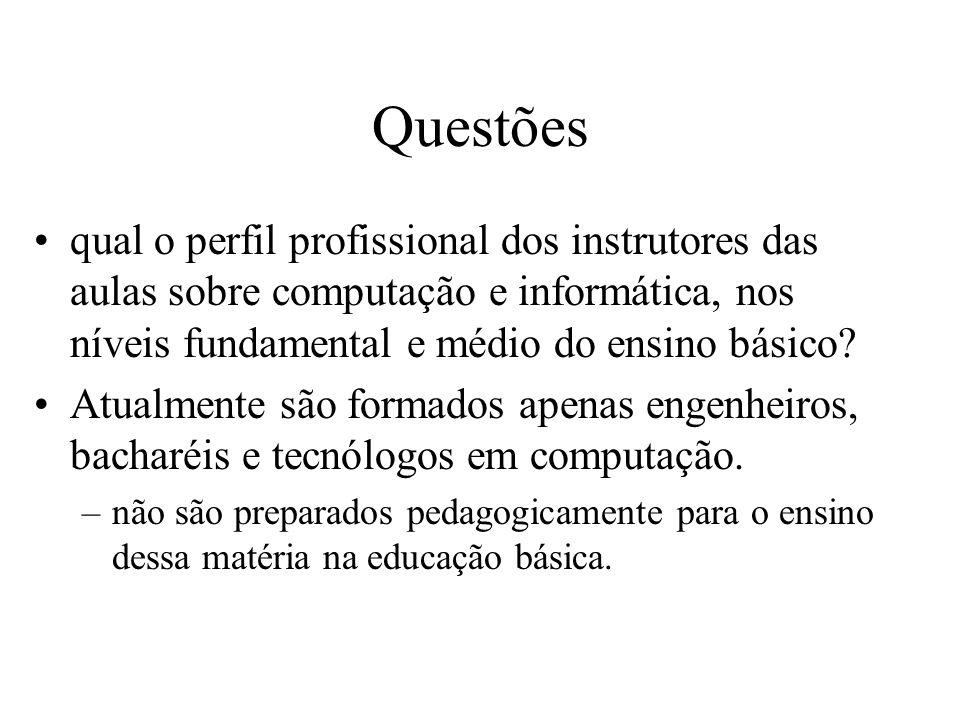 Questões qual o perfil profissional dos instrutores das aulas sobre computação e informática, nos níveis fundamental e médio do ensino básico