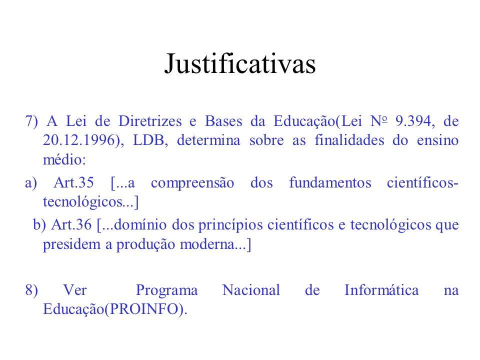 Justificativas 7) A Lei de Diretrizes e Bases da Educação(Lei No 9.394, de 20.12.1996), LDB, determina sobre as finalidades do ensino médio: