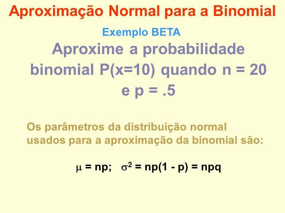 Aproxime a probabilidade binomial P(x=10) quando n = 20 e p = .5